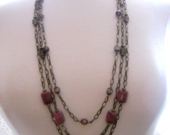 Pink Rhodonite and Antique Brass Layered Necklace