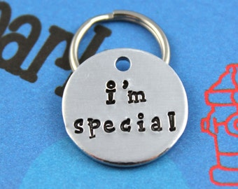 SMALL Dog or Cat Tag - Aluminum Pet Tag - Hand-Stamped Cat or Dog Collar Charm - Other Metals Available