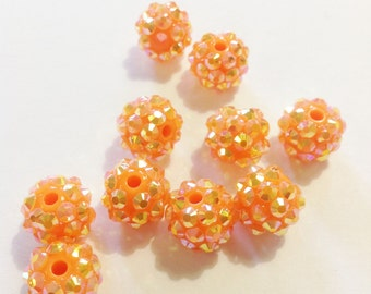 10pcs Basketball Wives Bling Spacer Bead Resin Rhinestone Beads Basketball Wives 10X11mm