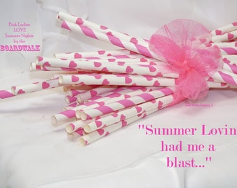 HOT PiNk Ladies -SummeR Lovin- Paper Straws, 50 assorted BoardWalk Concession RetRo and HoT Pink and HearTs Paper Straws, Party, Wedding