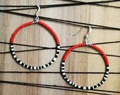 Tribal Beaded Hoop Earrings in Red Black and White
