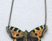 Pretty Wooden Vintage Butterfly Illustration Necklace (jewellery, jewelry, nature, organic, insect, pendant)