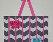 Hair bow Holder Gray Chevron Wall Art Clippie Holder Baby Shower Gift Chevron Pink Hairbow Holder