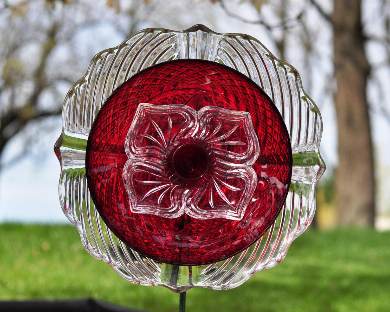 Repurposed Glass Garden Flower Glass Plate Garden Art