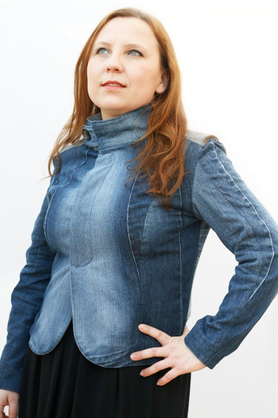 Tailored denim jacket, recycled denim/jeans blazer, eco-friendly and ready to ship