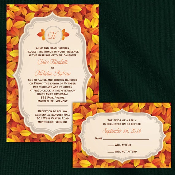 Elegant Fall Color Wedding Inviation: Custom Elegant Fall Wedding Invitations