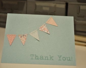Handmade Bunting flags pennant garland stitched Thank you cards (set of 5)
