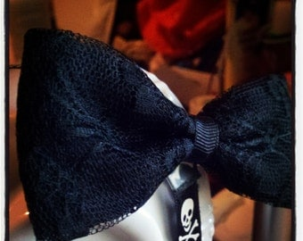 Black Lace Hair Bow