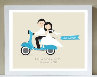 Custom Portrait, Wedding Portrait, Just Married, Vespa, Wedding, off to the Honeymoon