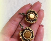 Gold and Brown Small Soutache Earrings