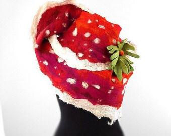 Designer Scarf Felted Scarf Nunofelt TOADSTOOL Wrap POISON Shawl Felt Nunofelt Nuno felt Silk Red Eco shawl Fiber Art with Brooch