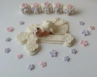 CHRISTENING Baby Girl Cake Topper Fondant CAKE TOPPER Baby shower first birthday communion dress cross baptism
