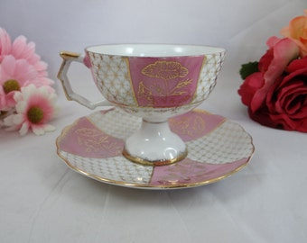 1950s Vintage Royal Crown Pink Footed Teacup and Saucer Japanese Tea Cup