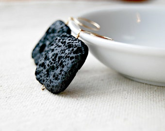 molten... gold lava rock earrings / black square porous lava rock & 14k gold filled earrings