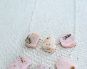 dalliance... pink peruvian opal necklace / sterling silver double row necklace / october birthstone