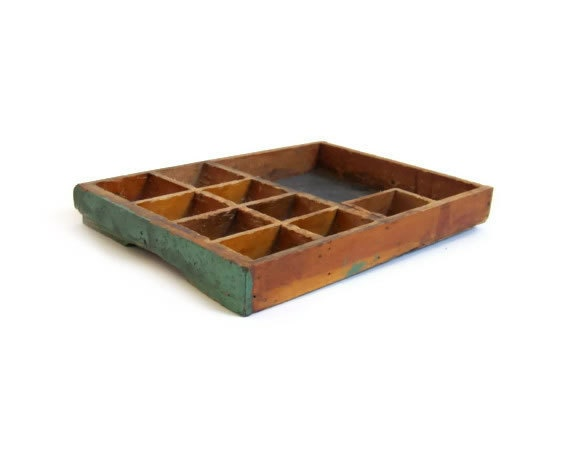 Vintage Wooden Tray Partitioned Divided by stonesoupology on Etsy