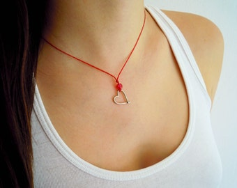 Heart Outline Sterling Silver Pendant with Fuchsia Glass Bead and Red Wax Cord