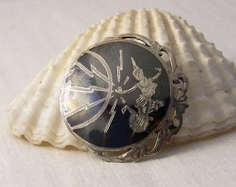 Vintage Sterling Silver Siam Brooch, Silver Brooch, Round Black Brooch, Niello Brooch, Siam Brooch, Mekkala Pin, Thailand Brooch