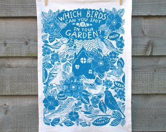 Garden Birds hand-printed organic cotton tea-towel, eco-friendly.