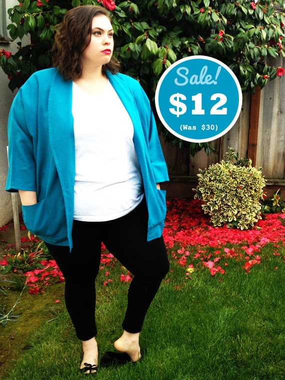 CLEARANCE - Plus Size - Vintage Turquoise Dolmen Sleeve Open-Front Blazer (Size 18)