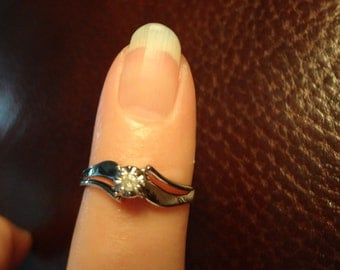 10k Diamond Solitaire White Gold Engagement Ring Promise Ring Gold Band Wedding Ring Size 7