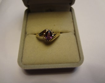 10k Gold Ring Amethyst & Diamond Ring Purple Lilac Yellow Gold Gift Birthday Anniversary