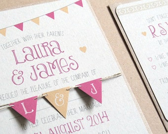 Popular Items For Bunting Invitation On Etsy
