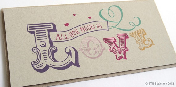 All You Need Is Love Wedding Invitations: All You Need Is Love Wedding Invitation Cute Colourful Eco