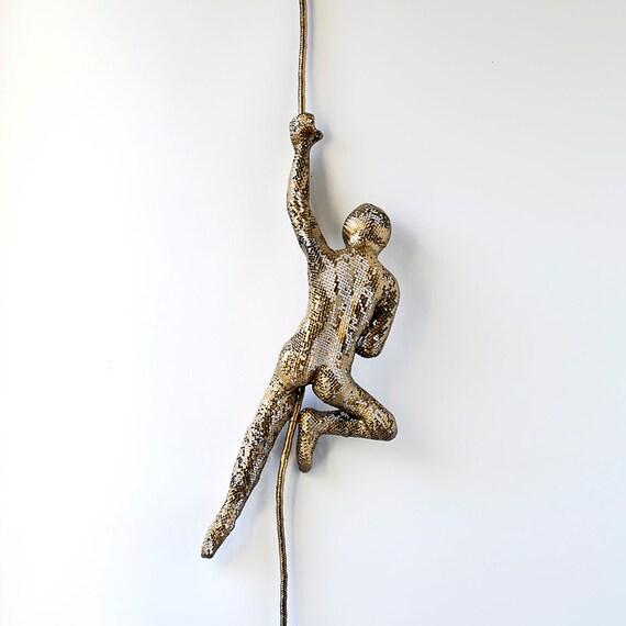 Climbing Man Wall Art metal wall art climbing man on rope home decor metal
