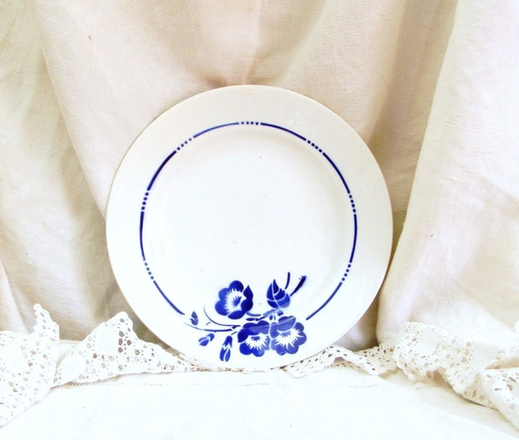Antique Ironware China Desert Plate with a Floral Motif from France, French Pottery Plate with Blue Flower Pattern, Country Cottage Kitchen