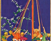 Colorful Children Around The May Pole.  MAY DAY Vintage Illustration. DIGITAL  Download. Vintage May Day Print. Jessie Wilcox Smith - DandDDigitalDelights
