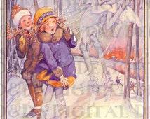 Enchanting RARE Anne Anderson. Jack FROST. Vintage  Illustration. DIGITAL Download