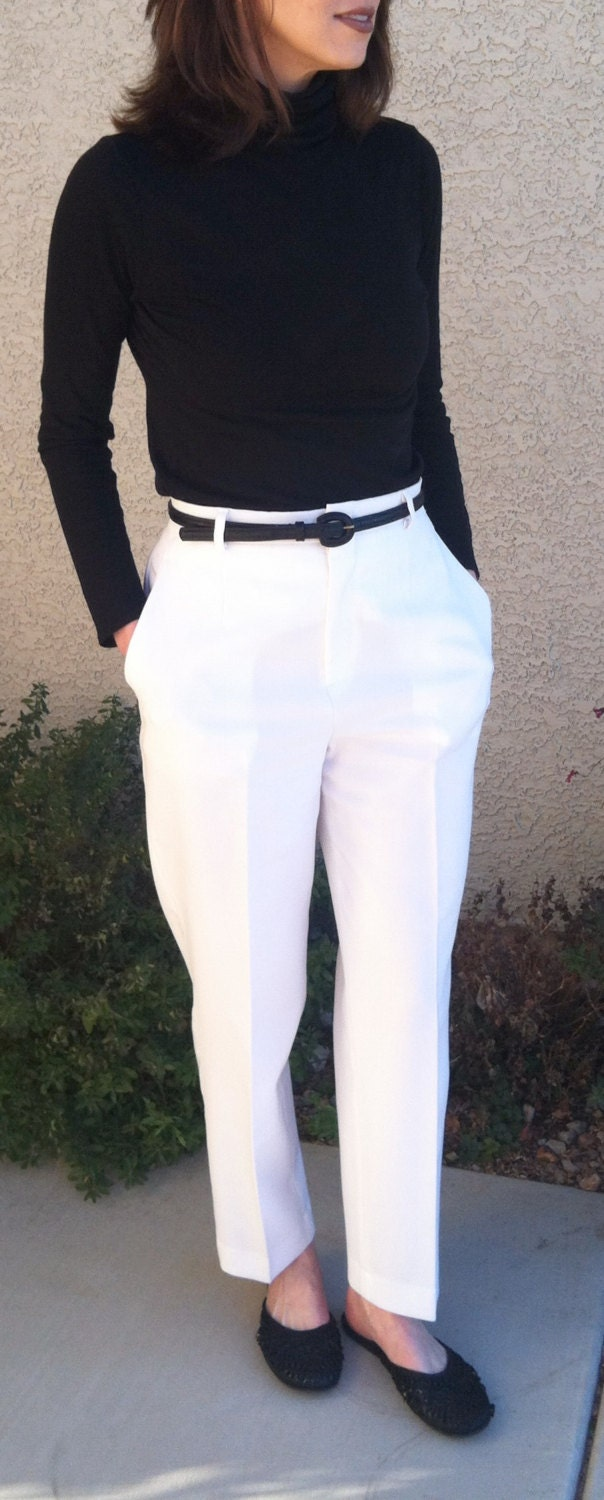 Sale Vintage Women S White High Waisted Pleated Pants