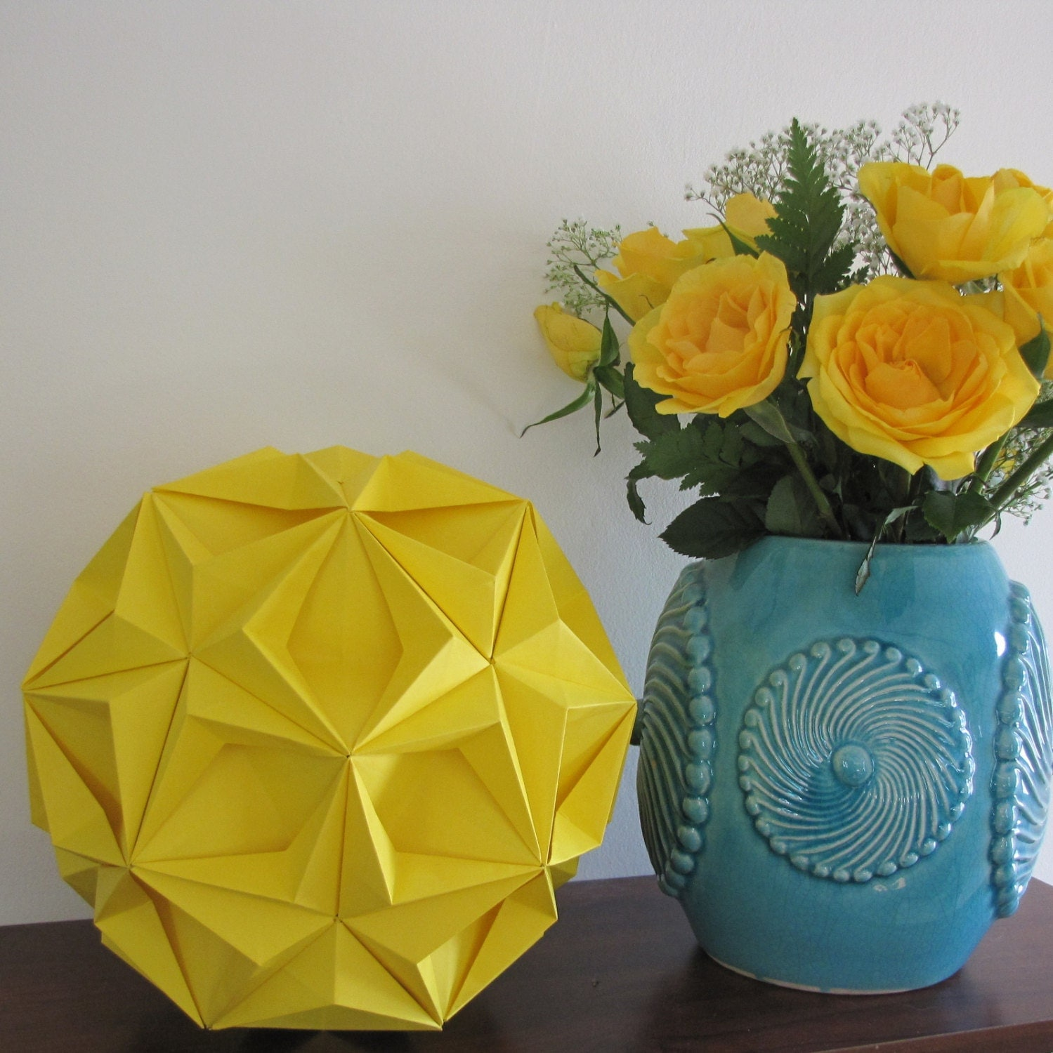 Yellow home decor yellow origami ball modern by jewelrybyjolanta - Home accessories yellow ...