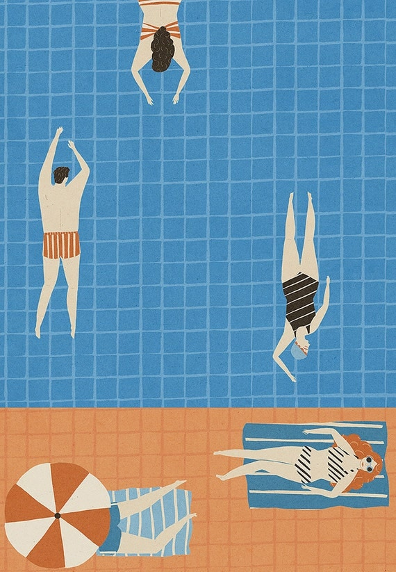 Swimming Pool Limited edition signed A3 Print