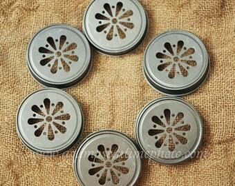 Set of 6 Pewter Color Daisy Mason Jar Lids DIY Wedding, Party Decor