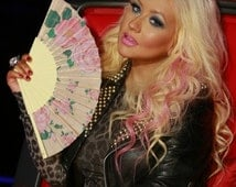 "HAND FAN - Christina Aguilera's choice on The Voice - romantic handfan - pink / beige ""Victorian Roses"" - Christmas gift"