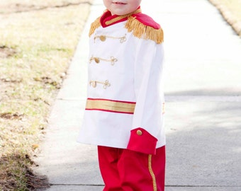 Prince Charming Costume - Circus RingMaster for Toddler Boy Child Costume - Washable Birthday Disney Fantasy Photo Prop - Red Dressup Gift