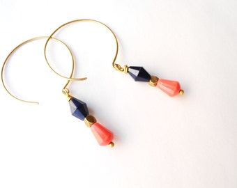 Dangle Hoop Earrings, Beaded Drop, Brass, Coral and Navy Beads, Beadwork, Lightweight, Modern Jewelry