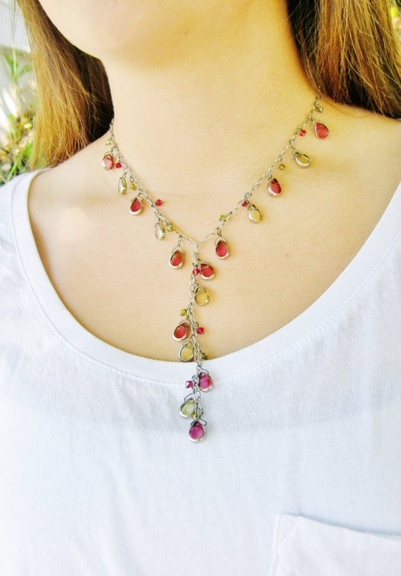 SALE Pink Lariat Necklace Colorful Necklace Swarovski Crystal Pink Yellow Oxidized Silver Chain Long Necklace Elegant