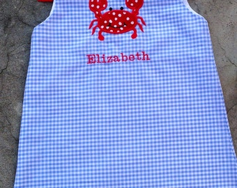 Personalized Baby dress, Baby girl clothes, Beach vacation dress, Crab, girl baby outfits, family picture outfit toddler summer clothes