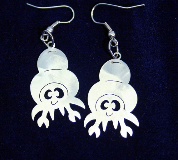 Little Hermit Crab Stainless Steel dangly Sea Creature Earrings