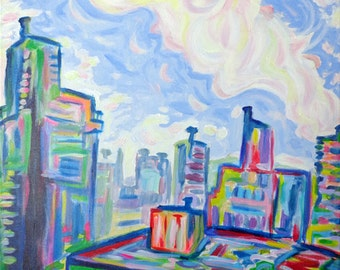 ORIGINAL Acrylic Painting - The West End - 24 x 36 Colorful Sky and City Art FREE SHIPPING