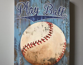 Baseball Art, Sports Nursery Canvas Art ,  Baseball Nursery Decor,  Baby Boys Room  Sports Art Print