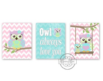"Nursery Art - Owl Baby Girl Nursery Art Print Childrens Wall Art Baby Room Decor Kids Print Nursery Decor 8""x10""owl pink  aqua"