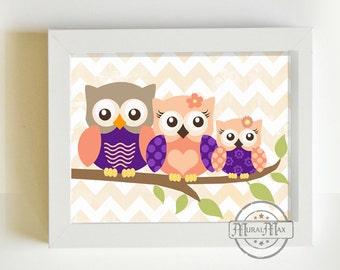 Nursery Art - Owl Print for Nursery ,Baby Girl Owl Family Nursery Art, Whimsical Owl Art Print  8  x 10, Girls Room Decor