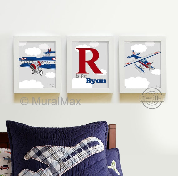 Kids Wall Art Airplane Nursery Art Vintage Airplane Art