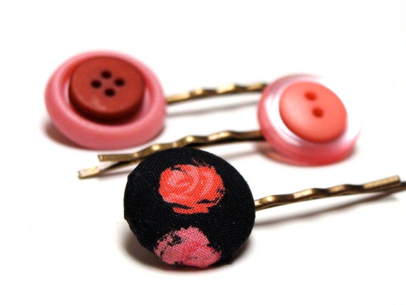 coral pink rose hair pin buttons