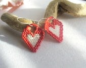 Seed Bead Drop, Dangle Handwoven, Handmade Heart Earrings in Red and White for Spring, Summer, Winter, Valentine's Day, Special Gift for Her