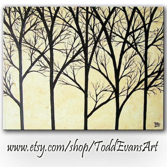 Silhouette Tree Paintings Silhouette Trees Tan